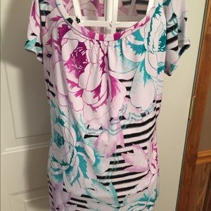 Striped Floral Short Sleeve Top